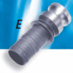 304 Stainless Steel E Style Male Adapter x Hose - 1-1/4