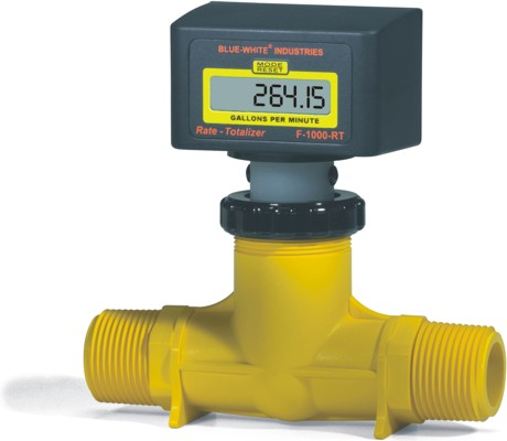 F-1000 Flowmeter w/ In-Line PP Body (Rate Only) - 2-20 GPM - 1