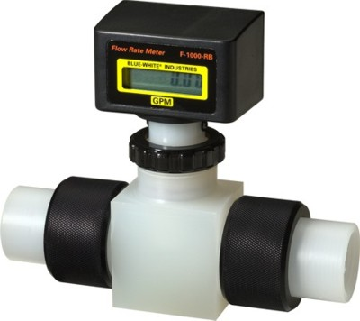 F-1000 Flowmeter PVDF Body (Rate & Total) - 0.4-4 GPM - 3/8