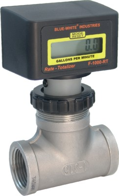 F-1000 Flowmeter w/ SS Bodies (Total Only) - 15-150 GPM - 1-1/2