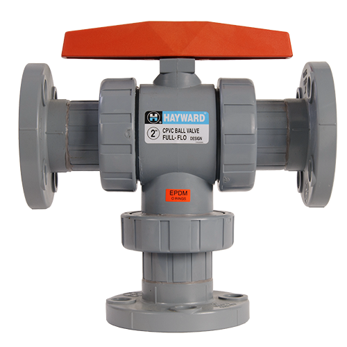 Hayward CPVC/EPDM 3-way Flanged Ball Valve for Actuator Mount 6