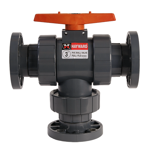 Hayward 3-way Flanged Ball Valve for Actu Mount PVC/EPDM up to 2