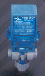 Plastomatic 3-Way PVC Air-Actuated Ball Valve - 3/4