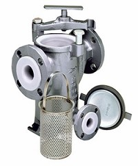 Carbon Steel 72L Fluoropolymer Basket Strainer - Flanged - 2""