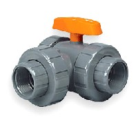"Hayward 1 1/4"" PVC Lateral 3-way Ball Valves Socket/Thread FPM"