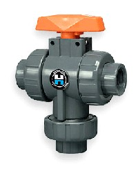 "Hayward 1 1/4"" PVC 3-way Ball Valves Socket/Thread EPDM"