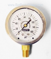 "Stainless Steel Liquid Filled Quality Gauge 2.5"" 0-160 PSI"