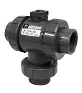 Hayward CPVC/EPDM 3-way Socket/Threaded Ball Valve Mount up to 2""