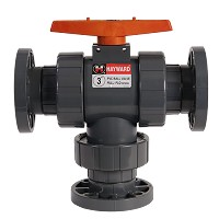 Hayward 3-way Flanged Ball Valve for Actuator Mount PVC/EPDM 6""